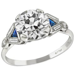 Art Deco 1.91 Carat Diamond Sapphire Platinum Engagement Ring