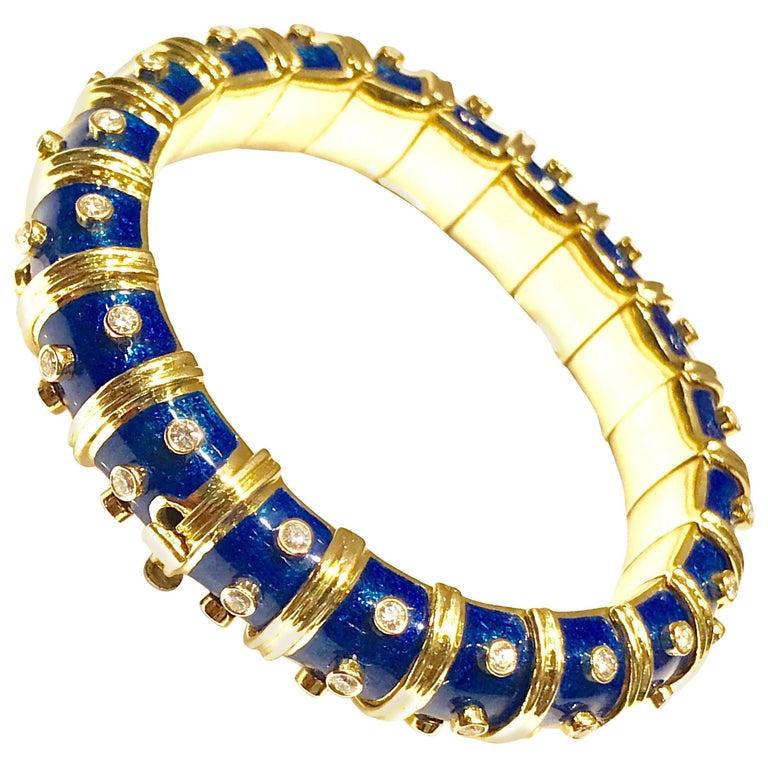 Tiffany & Co. Schlumberger Blue Enamel and Bezel Set Diamond Bangle Bracelet For Sale