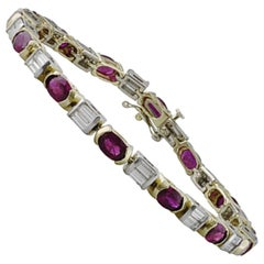 Oval Ruby and Diamond Baguette Tennis Bracelet