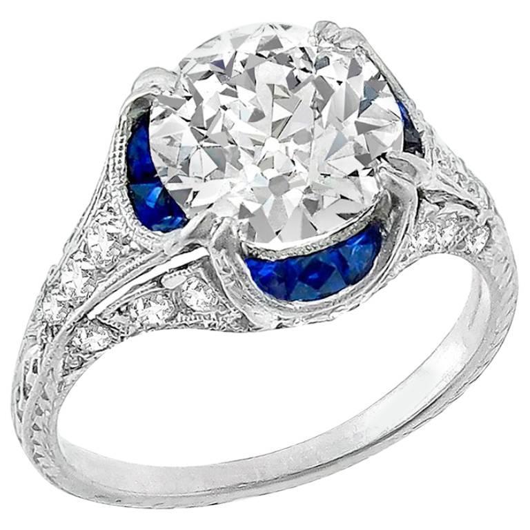 Unique GIA Certified 2.12 Carat Old European Diamond Platinum Engagement Ring