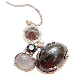 Black and White Hued Gemstone and Diamond Single Norma Earring