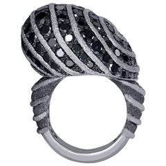 Diamond Textured White Gold Swirl Art Ring One of a Kind