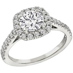 GIA Certified 0.90 Carat Diamond Halo Engagement Ring