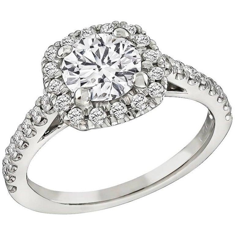 GIA Certified 0.90 Carat Diamond Halo Engagement Ring