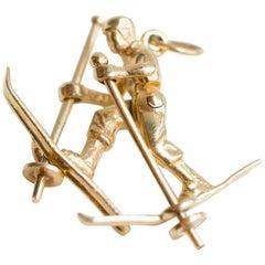 Skier Pendant Charm 14 Karat Yellow Gold