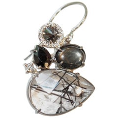 Black and White Hued Gemstone and Diamond Single Norma Earring