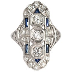 1.00 Carat, Total Weight Diamond and Sapphire Platinum Engagement Ring