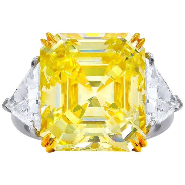 GIA Certified 13.14 Carat Fancy Yellow, VVS2 Asscher Cut Diamond