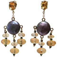 Black Pearl Earrings with Spinel, Citrine, and 14 Karat Yellow Gold by Marina J
