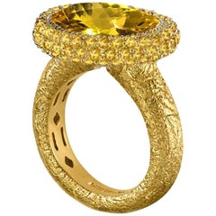 Alex Soldier Citrine Yellow Gold Textured Cocktail Ring One of a Kind