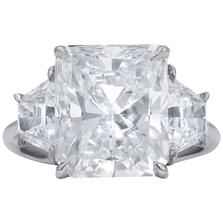 GIA Certified 6.61 Carat Radiant Cut Three stone Diamond Ring For Sale