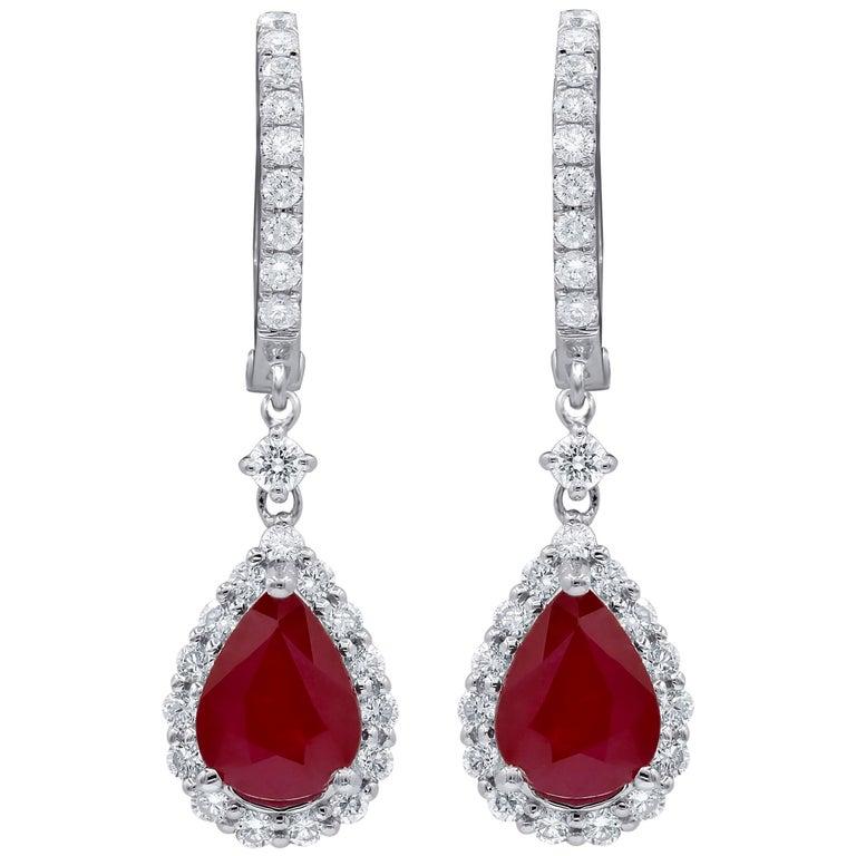 Magnificent Burma Ruby Diamond Earrings