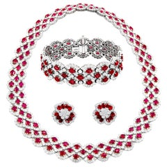 One of a Kind Burmese Ruby and Diamond Set