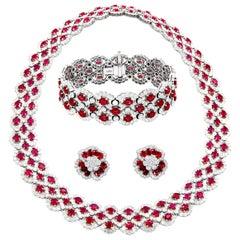 One of a Kind Burmese Ruby and Diamond Set