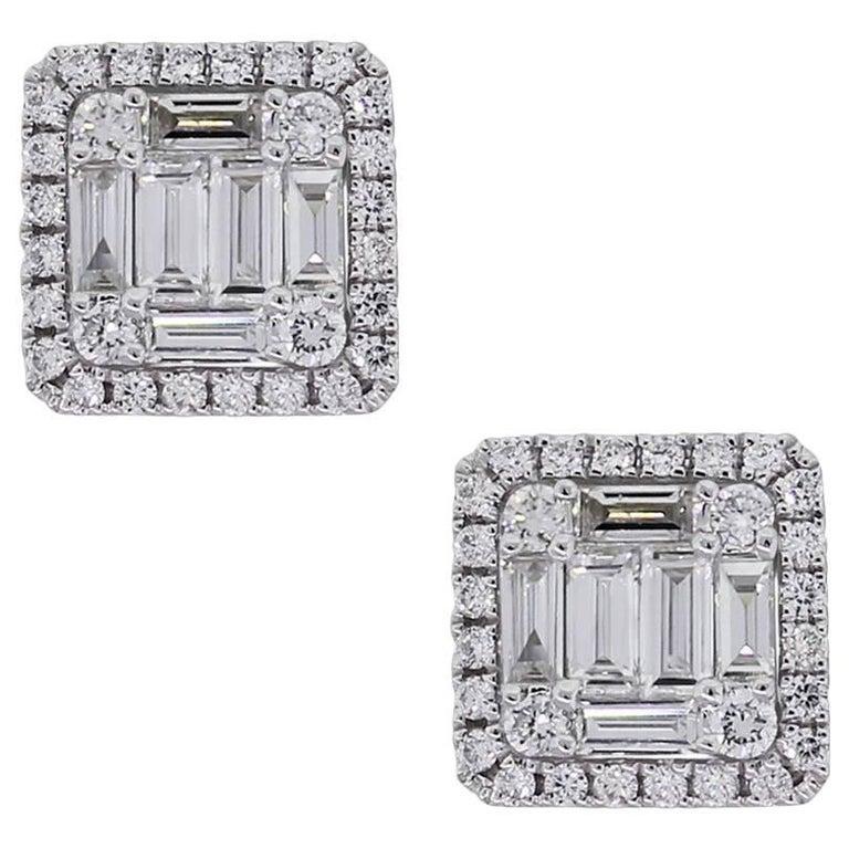 Diamond Illusion Square Stud Earrings