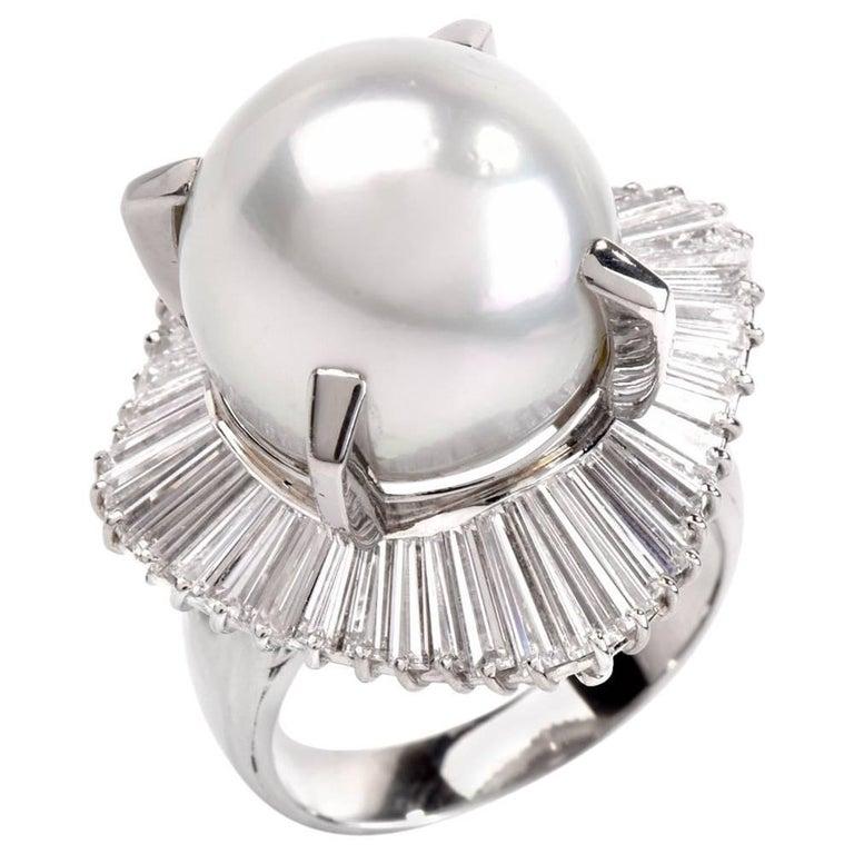 1960s Platinum Baguette Diamond Ballerina Cocktail Ring