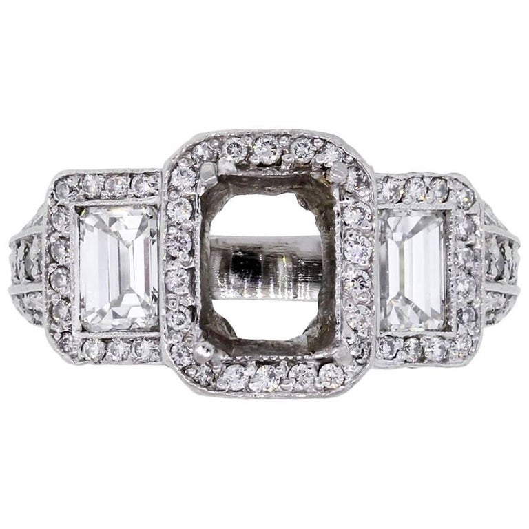 Emerald Cut Diamond Ring Mounting For Sale