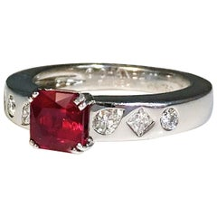 Chanel Red Ruby and Diamond Solitaire Ring 18 Karat White Gold'