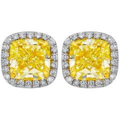 GIA Certified 2.19 Carat Yellow Diamond Stud Earrings