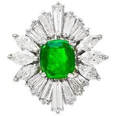 Ballerina Green Emerald and Diamond Ring