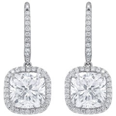 6.76 Carat Cushion Cut Diamond Drop Earrings