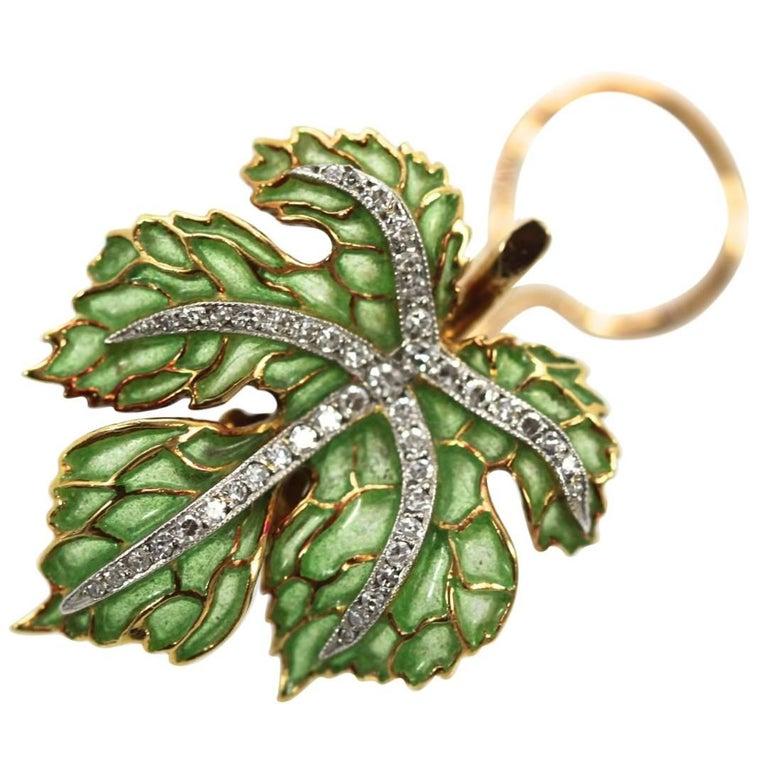 Plique a Jour Diamond Earrings Designed as Leaf's, circa 1950s