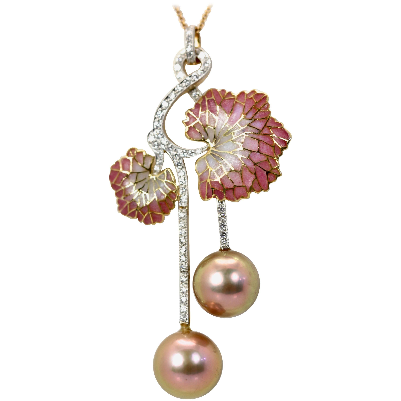 Plique a Jour Diamond Pearl Flower Pendant