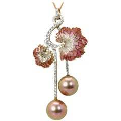 Plique a Jour Diamond Pearl Flower Pendant