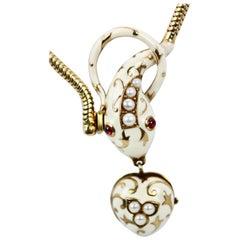Vintage White Enamel 18 Karat Garnet Pearl Snake Necklace, circa 1960