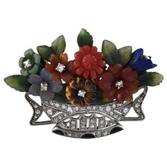 Art Deco Basket of Flowers Brooch