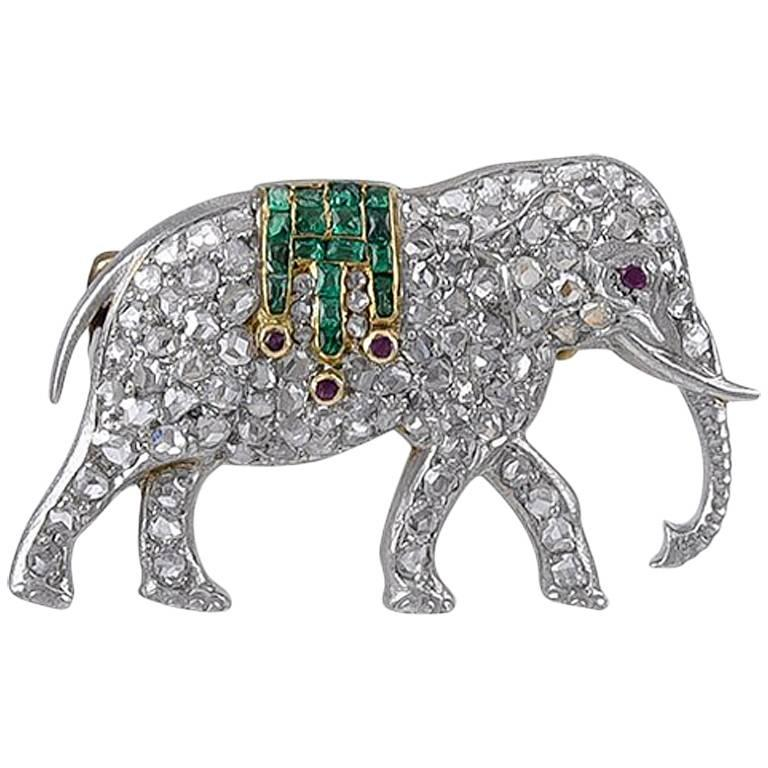 Platinum, Gold and Diamond Walking Elephant Brooch