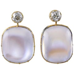 Pair of Victorian Moonstone and Diamond Earrings