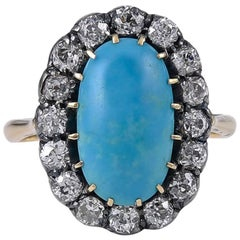 Late Victorian Turquoise and Diamond Ring