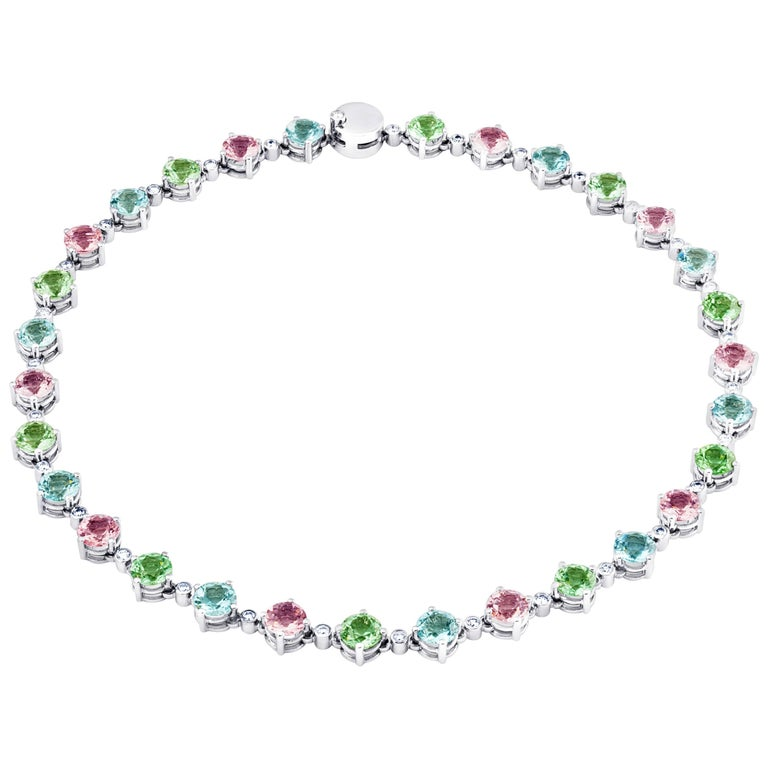 Fine Tourmalines Aquamarines Morganites Diamonds 18K Gold Necklace