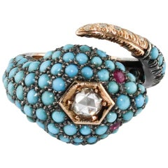 Ring in Rose and Silver Gold with Diamonds, Rubies and Turquoise