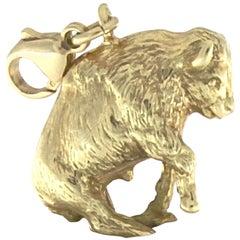 Buffalo Charm 18 Karat Yellow Gold