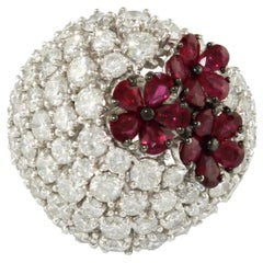 Diamonds Rubies White Gold Small Flower Ring