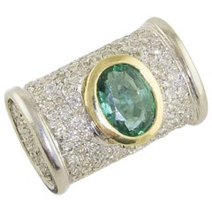 Emerald Diamonds White and Yellow Gold Cocktail Ring