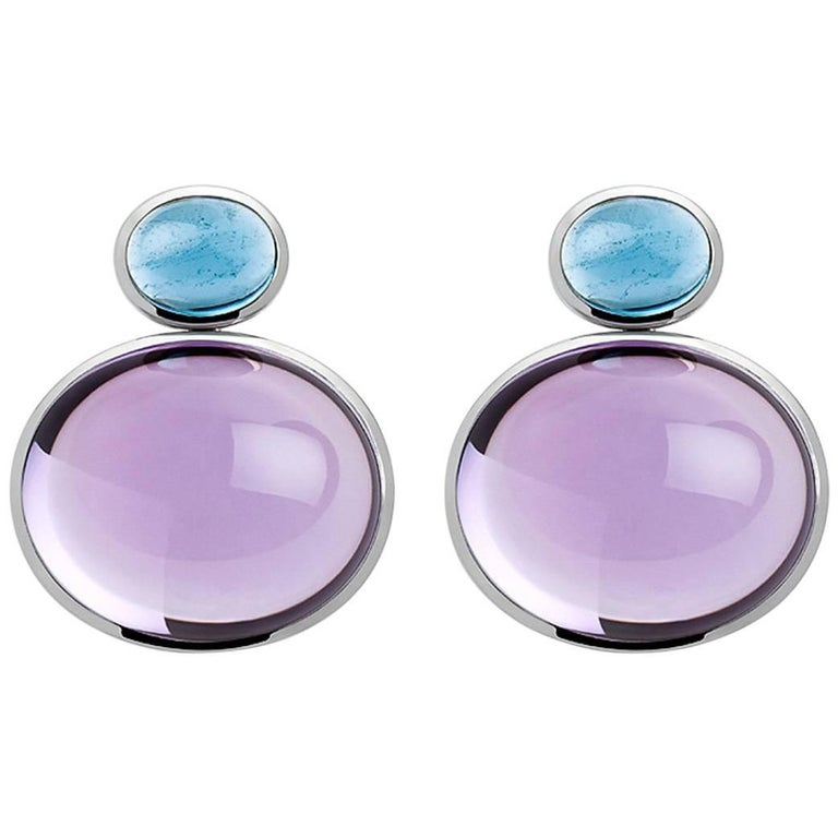 Tourmalines and Amethysts White Gold Earrings