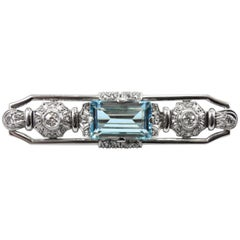 White Gold Art Deco Aquamarine and Diamond Brooch, 1920s