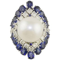 Blue Sapphires Carat 2.97 Australian Pearl and Diamonds Carat 1.50 Fashion Ring