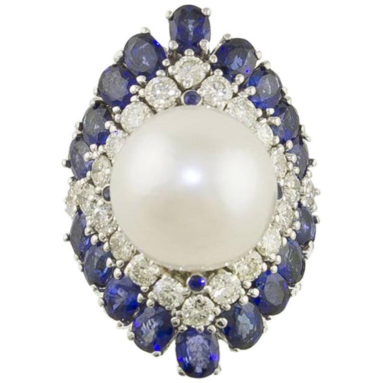 Blue Sapphires  Australian Pearl and Diamonds Fashion Ring