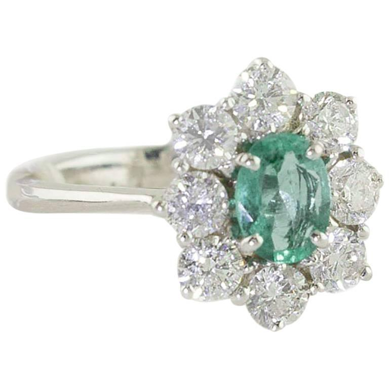 Diamonds Emerald White Gold Flower Cocktail Ring