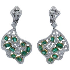 18 Karat Two-Tone Diamond & Emerald Earrings