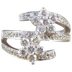 Modern Diamond Floral Three Split Band Diamond 18 Carat White Gold Ring