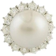 Diamonds Australian Pearl White Gold Cluster Ring