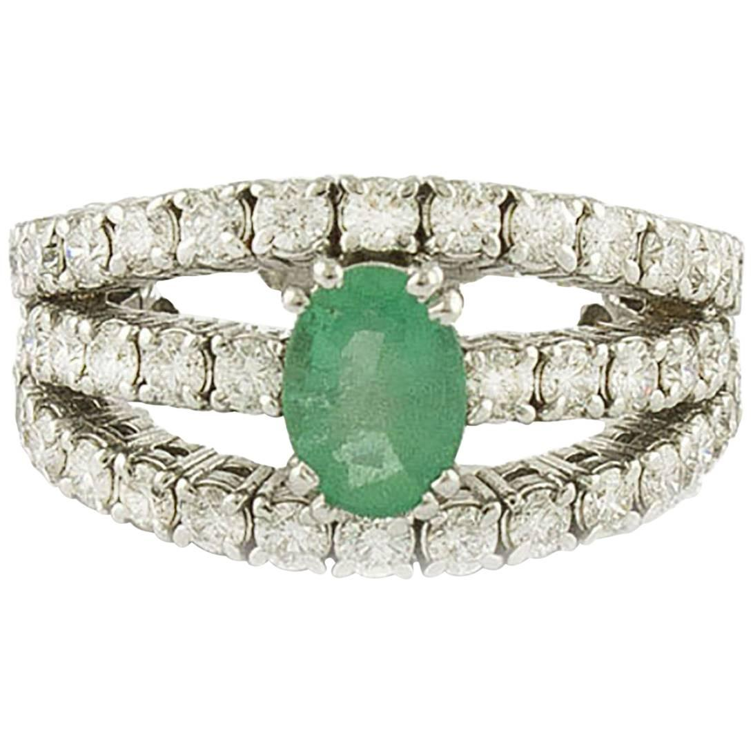 Emerald  Diamonds White Gold Engagement Ring