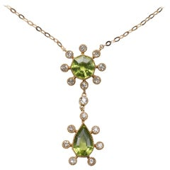 Edwardian Gold Peridot and Diamond Pendant
