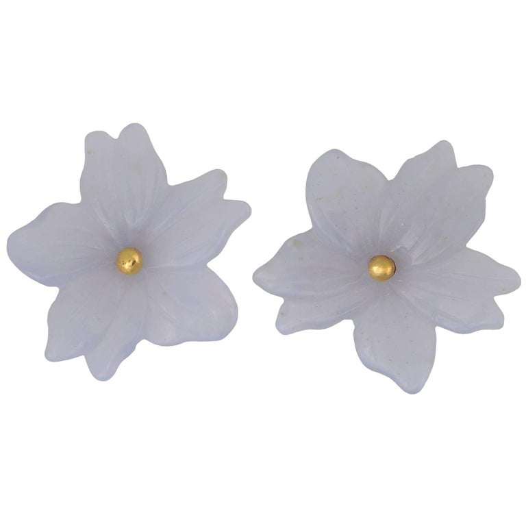 TPL Carved Chalcedony Flower Vermeil Earrings