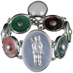 Antique Victorian Scottish Agate Golfers Bracelet circa 1860 Carnoustie Scotland